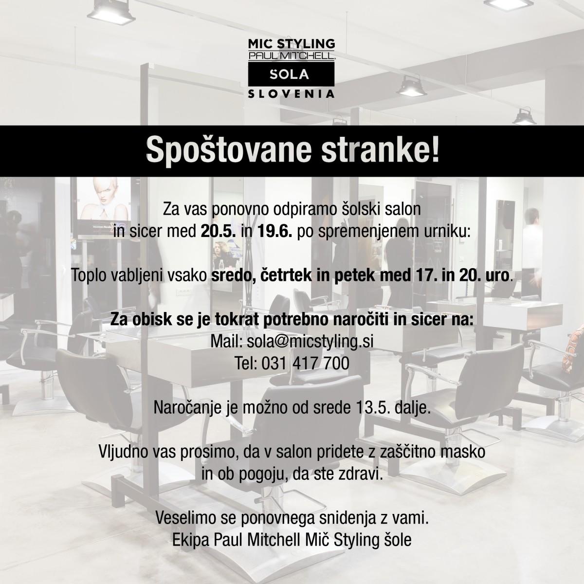 ŠOLSKI SALON PONOVNO ODPIRA VRATA 20.5.2020